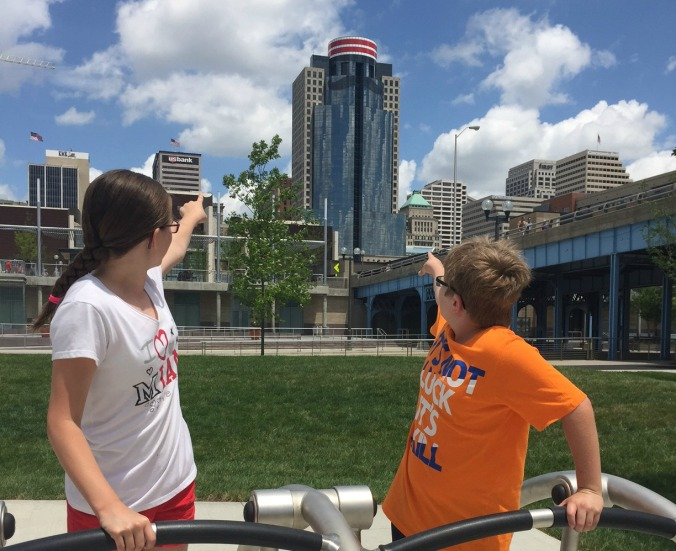 Cousins visiting from Atlanta enjoying the view of Mr Redlegs